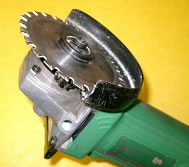 Multi-cutter fitted to a 100mm angle grinder