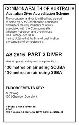 Australian Diver Accreditation Scheme back