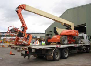 Photograph 3: EWP in crowded position on levelled tilt tray truck