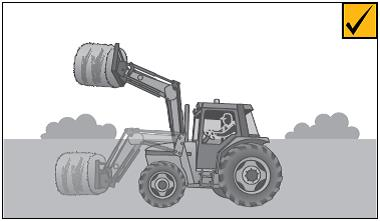 A self-levelling attachment will help balance the hay bale to prevent it falling. A backboard will prevent the bale falling backwards onto the operator