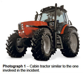 Photograph 1 – Cabin tractor similar to the one involved in the incident.