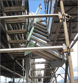 Photograph 1 – Single width aluminium stair module after one incident