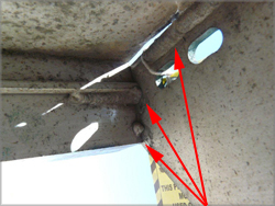 Photograph 3 – Underside view of failed module welds (shown by arrows).