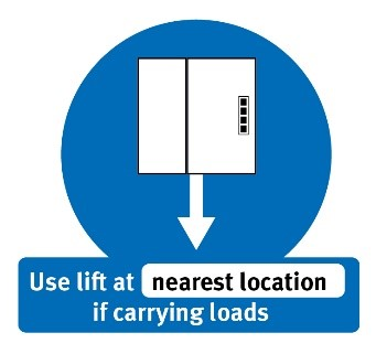 Use lift at nearest location if carrying loads