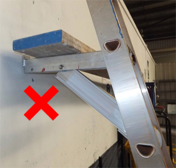 Ladder platform bracket fitted to back of ladder