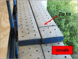 Lapped planks on hop up brackets - unsafe