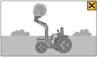 A tractor without FOPS puts workers at risk of injury from a falling hay bale