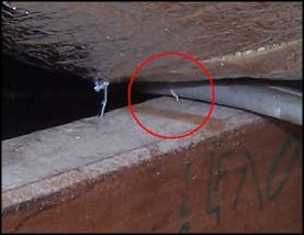 Photo 1: SHOCK HAZARD - Electrical cable pierced by a staple, energising the foil insulation