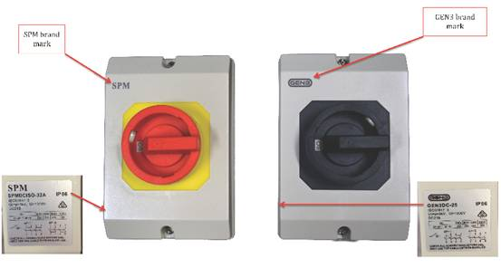 Gen3 or SPM branded DC isolators