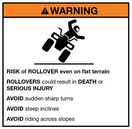 Risk of rollover warning label