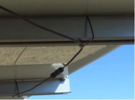 Example of poorly supported PV cables using plastic cable ties